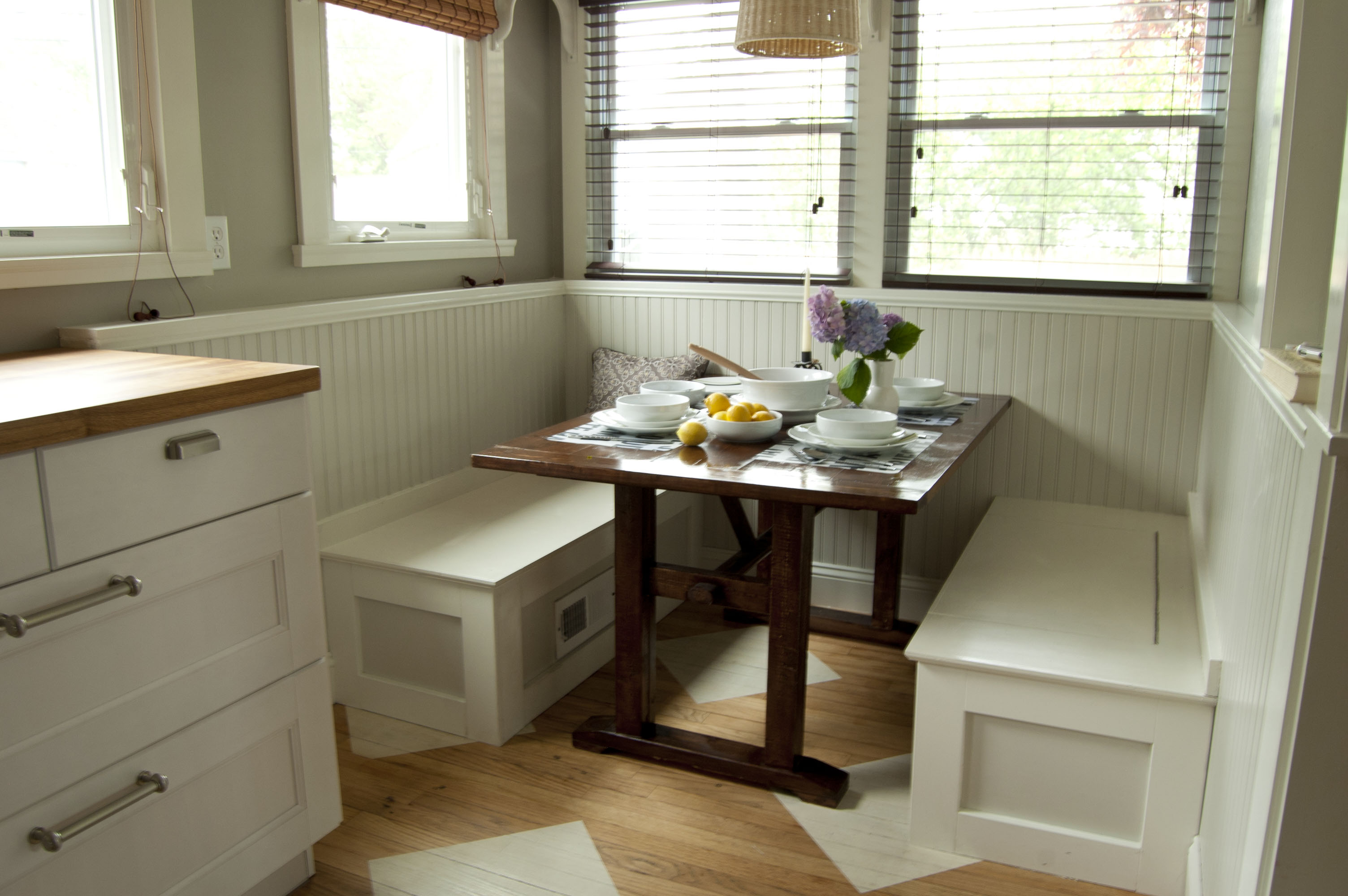 Diy banquette jessepeckwrites - Built in banquette dining sets ...