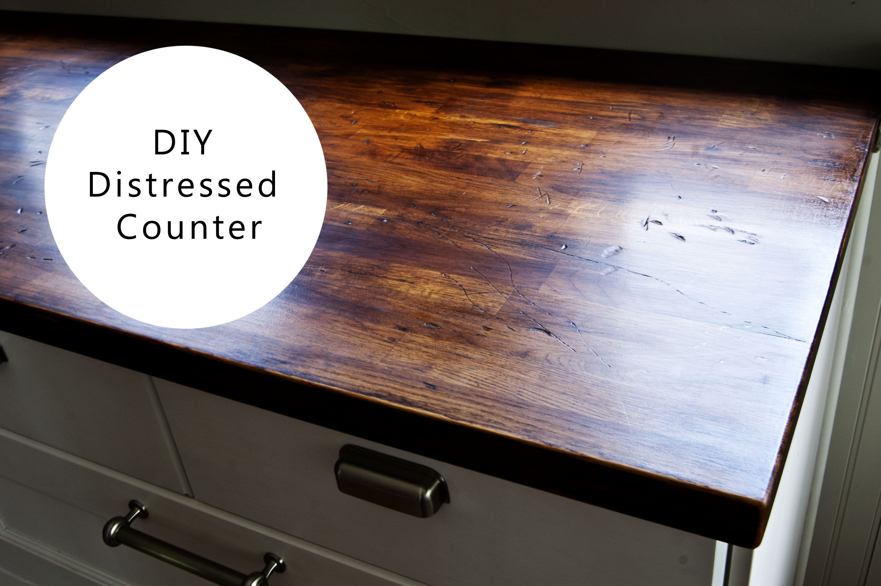 Diy distressed wood counter buckhouse for Installing butcher block countertops